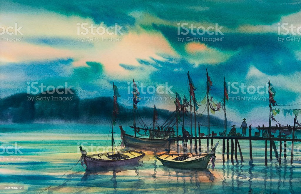 Three boats float at pier with beautiful sea vector art illustration