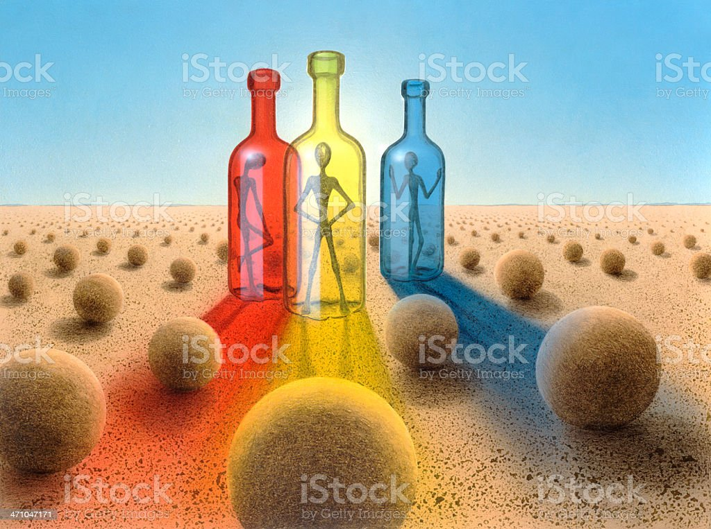 three bottles in surreal desert ambiance royalty-free stock vector art