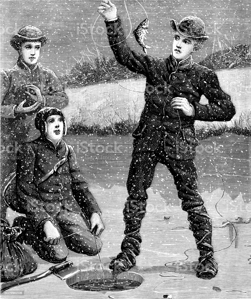 Three boys ice fishing on a snowy day vector art illustration