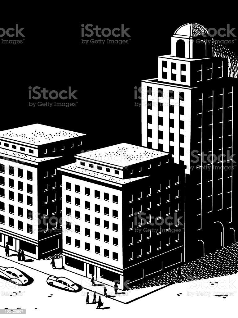 Three Buildings royalty-free stock vector art