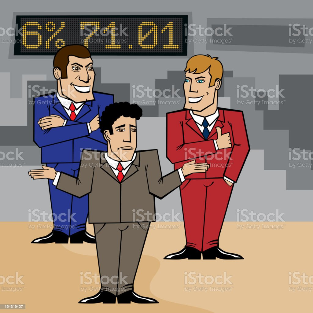 three businessmen discussing a problem vector art illustration