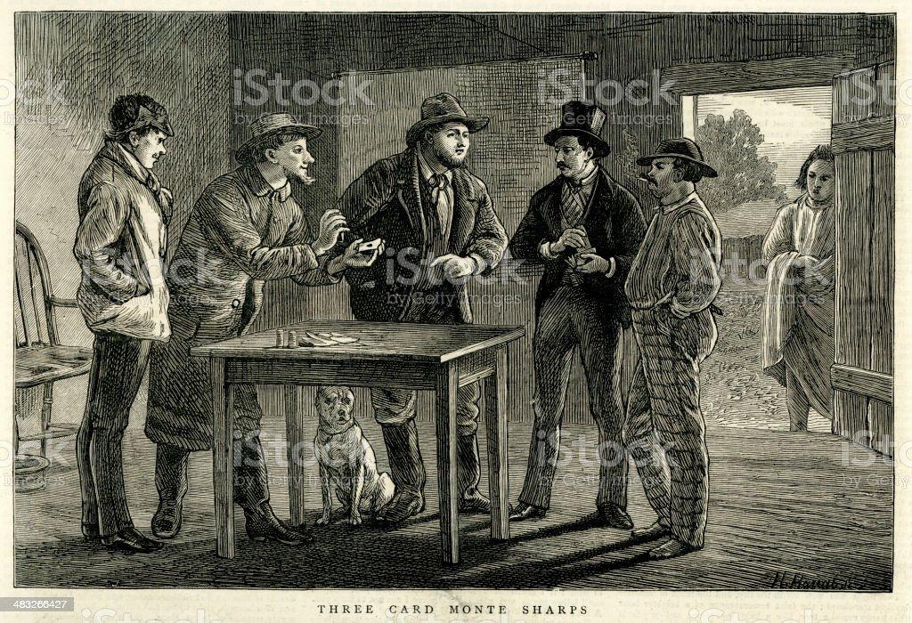 Three Card Monte - California 1876 vector art illustration