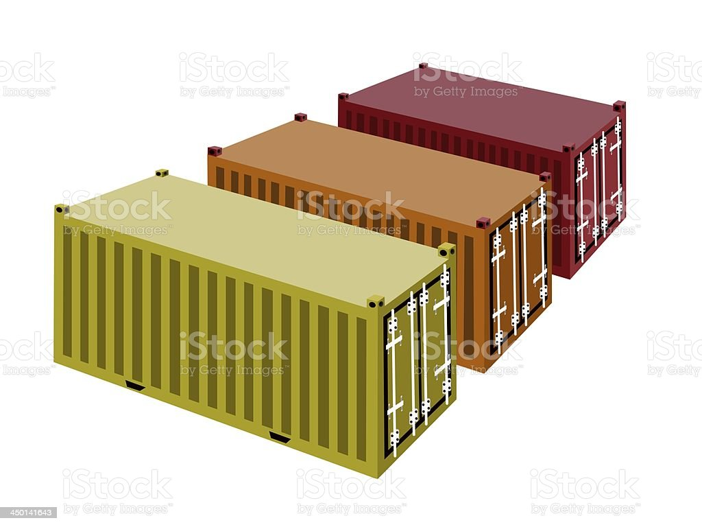 Three Cargo Container on A White Background royalty-free stock vector art