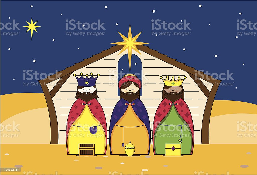 Three Christmas King Character Icons in Nativity Barn royalty-free stock vector art