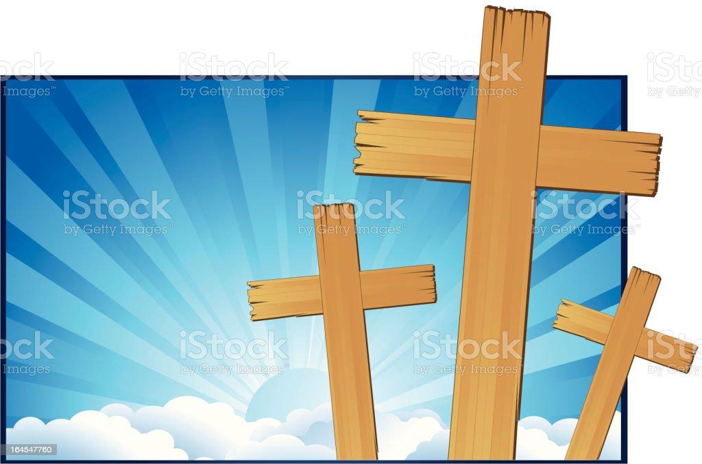 Three Crosses royalty-free stock vector art