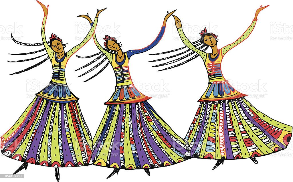 Three dancers royalty-free stock vector art