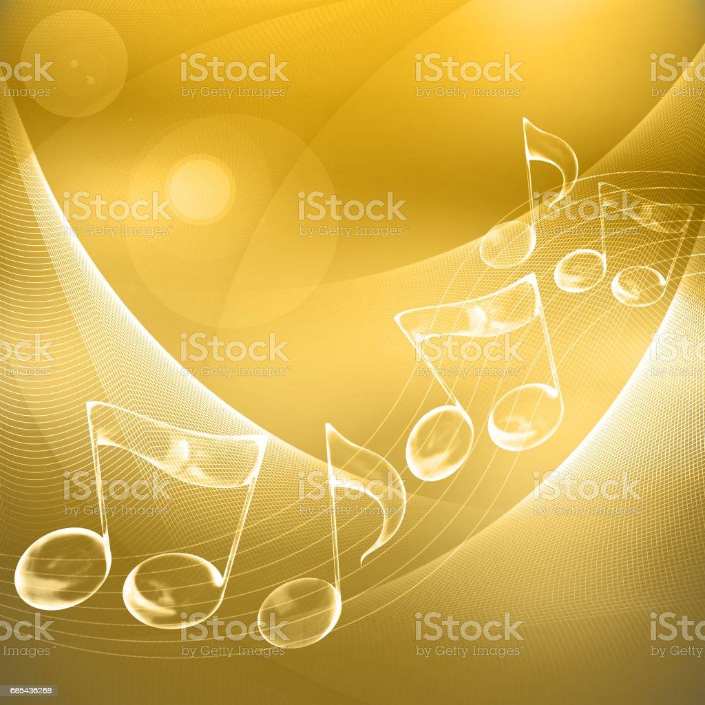 Three dimensional transparent music notes, randomly against a golden background vector art illustration