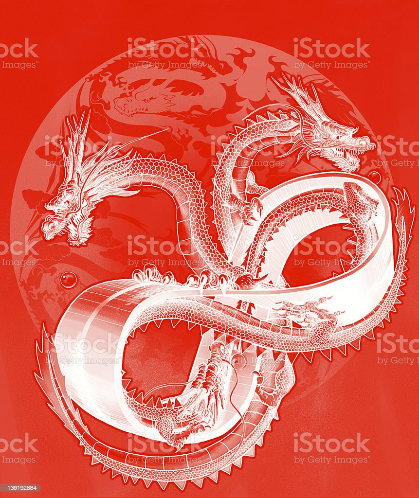 (red negative film) Three dragons on the ring of mebius vector art illustration