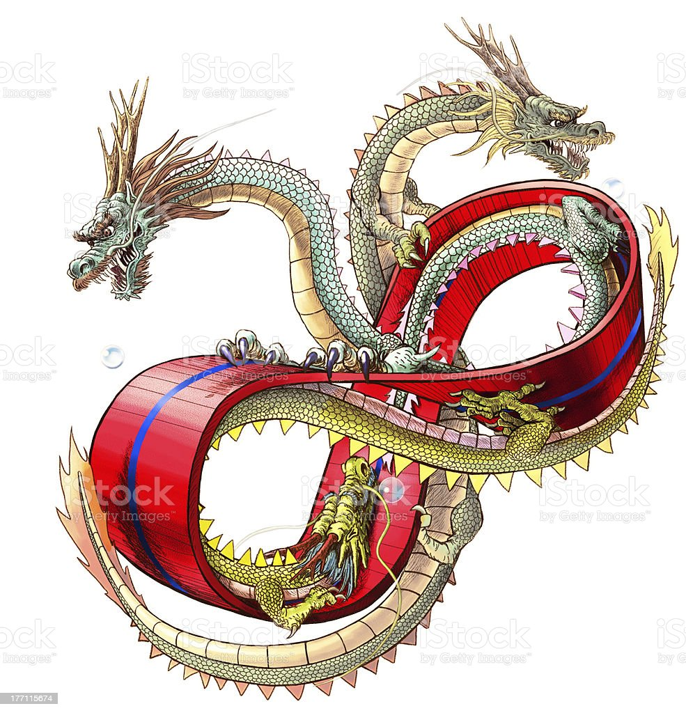 (white background)Three dragons on  the ring of mebius vector art illustration