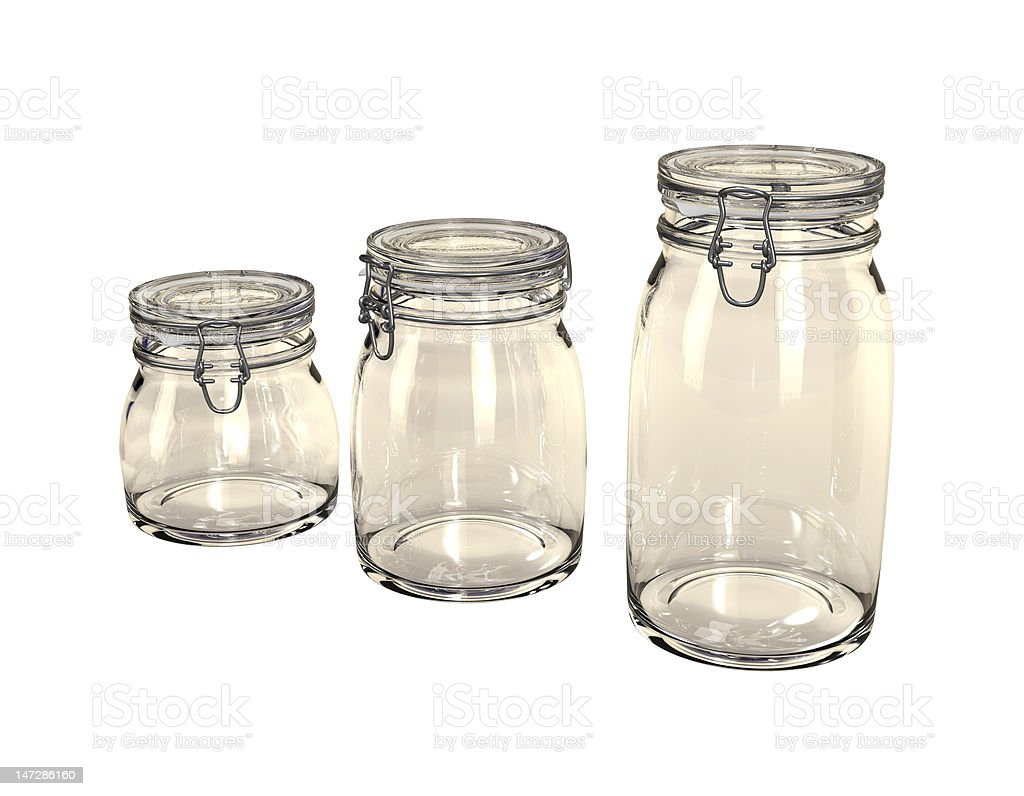 Three empty preserving jars. royalty-free stock vector art