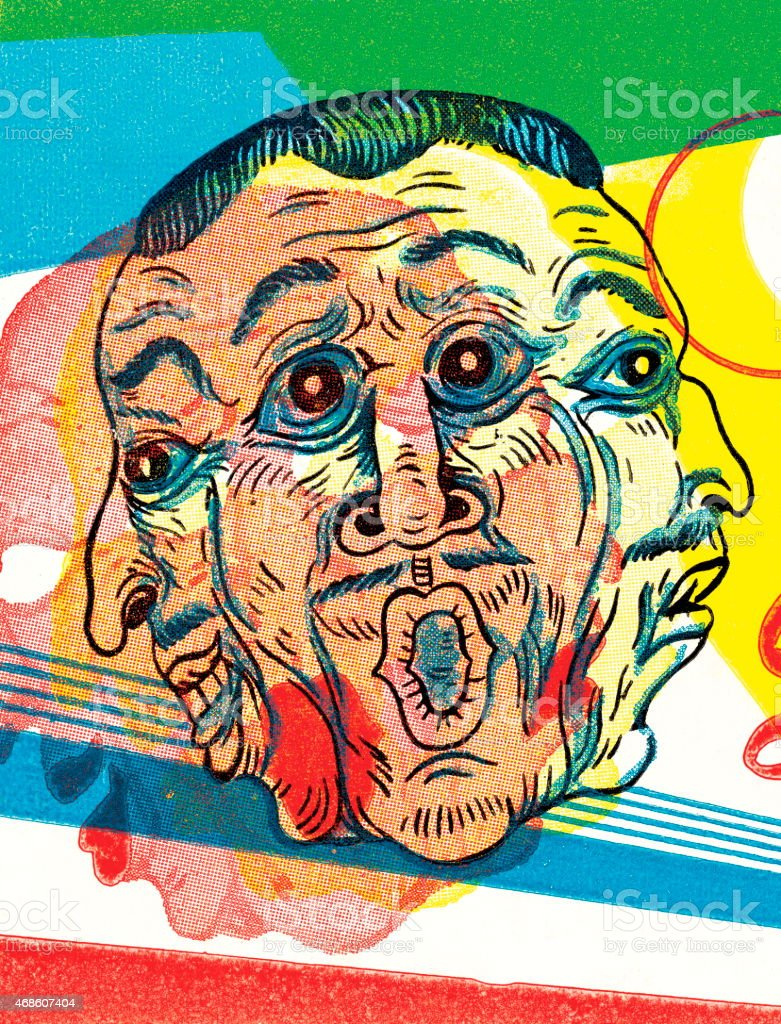 Three faces vector art illustration