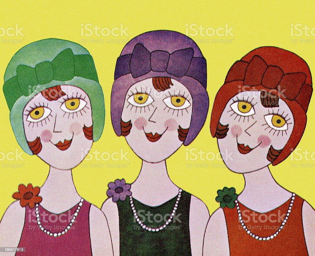 Three Flapper Girls royalty-free stock vector art