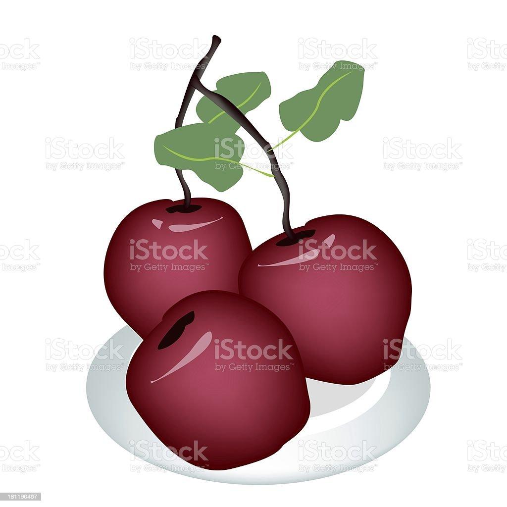 Three Fresh Apple on A White Plate vector art illustration