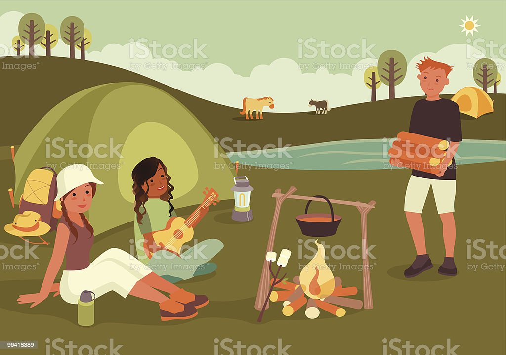 Three Friends Sitting Around Camp Fire with Tent royalty-free stock vector art