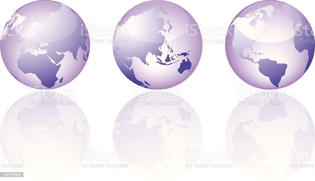 Three glass world views royalty-free stock vector art