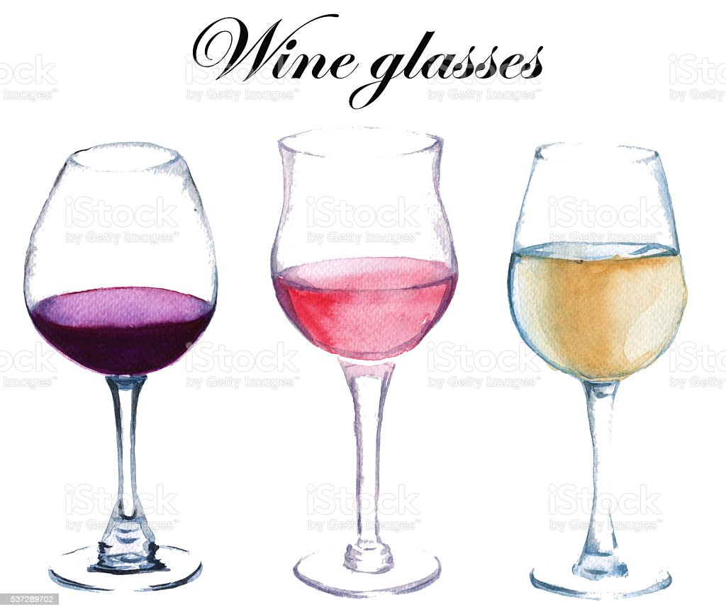 Three glasses of wine. isolated. watercolor illustration. vector art illustration