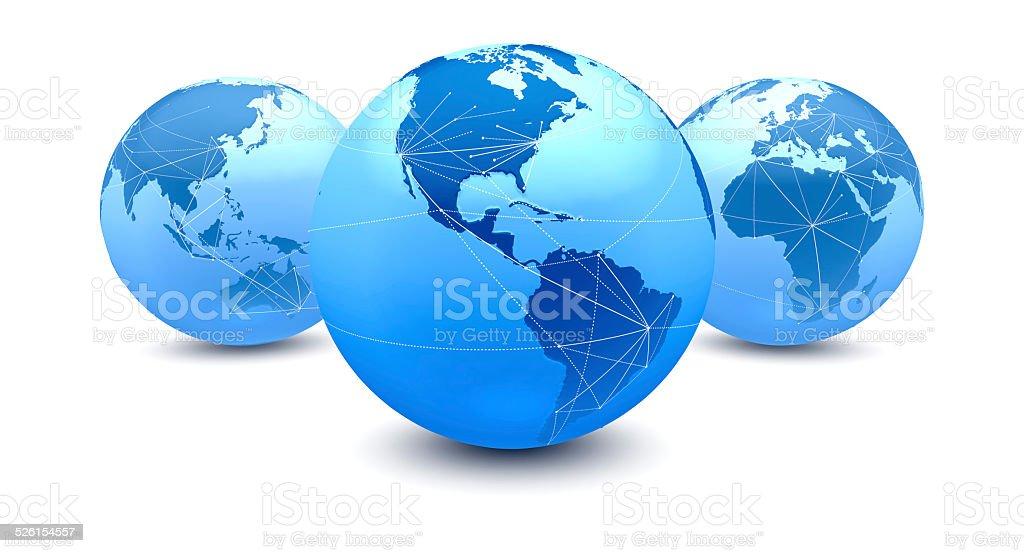 Cinco globos conexões, sobre as Américas vetor e ilustração royalty-free royalty-free