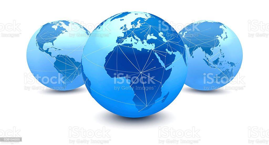 Cinco globos conexões, focado na Europa, Oriente Médio, África vetor e ilustração royalty-free royalty-free