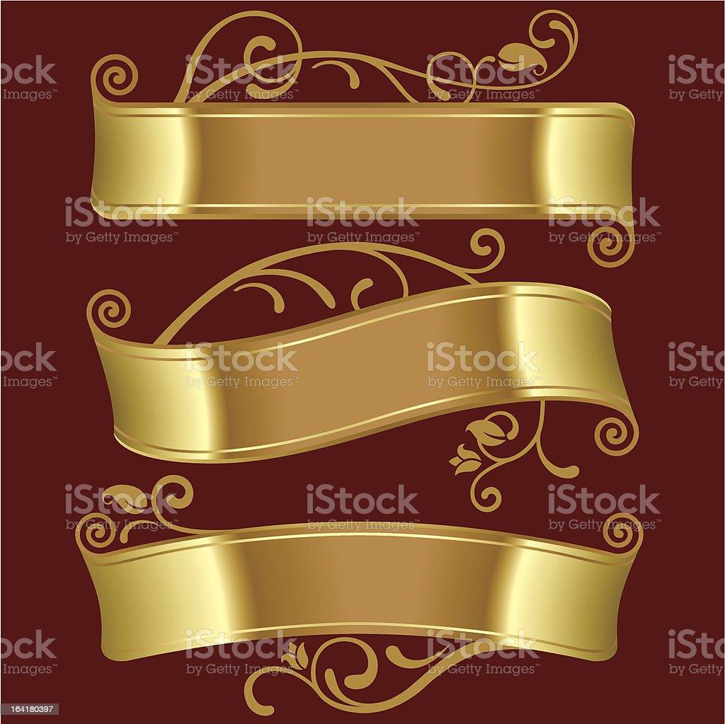 Three gold banners vector art illustration