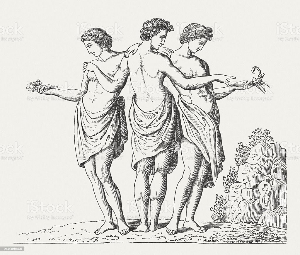 Three Graces, Greek Goddesses of Beauty, wood engraving, published 1878 vector art illustration