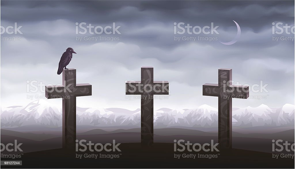 Three graves and a raven sitting on the tombstone royalty-free stock vector art