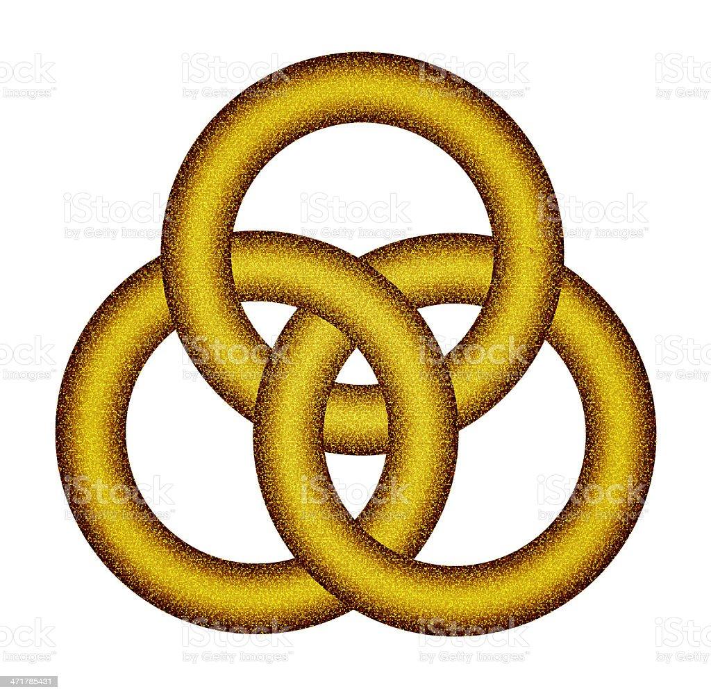 Three interlocking gold rings - Celtic knot royalty-free stock vector art