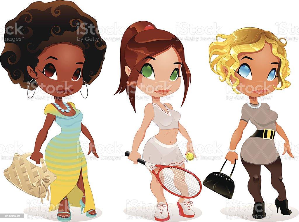 Three kind of ladies royalty-free stock vector art