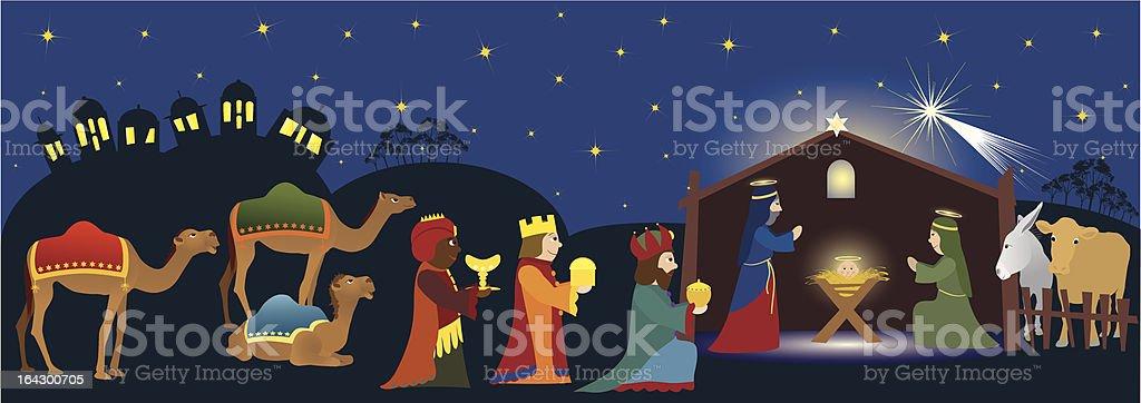 Three Kings coming to Bethlehem vector art illustration