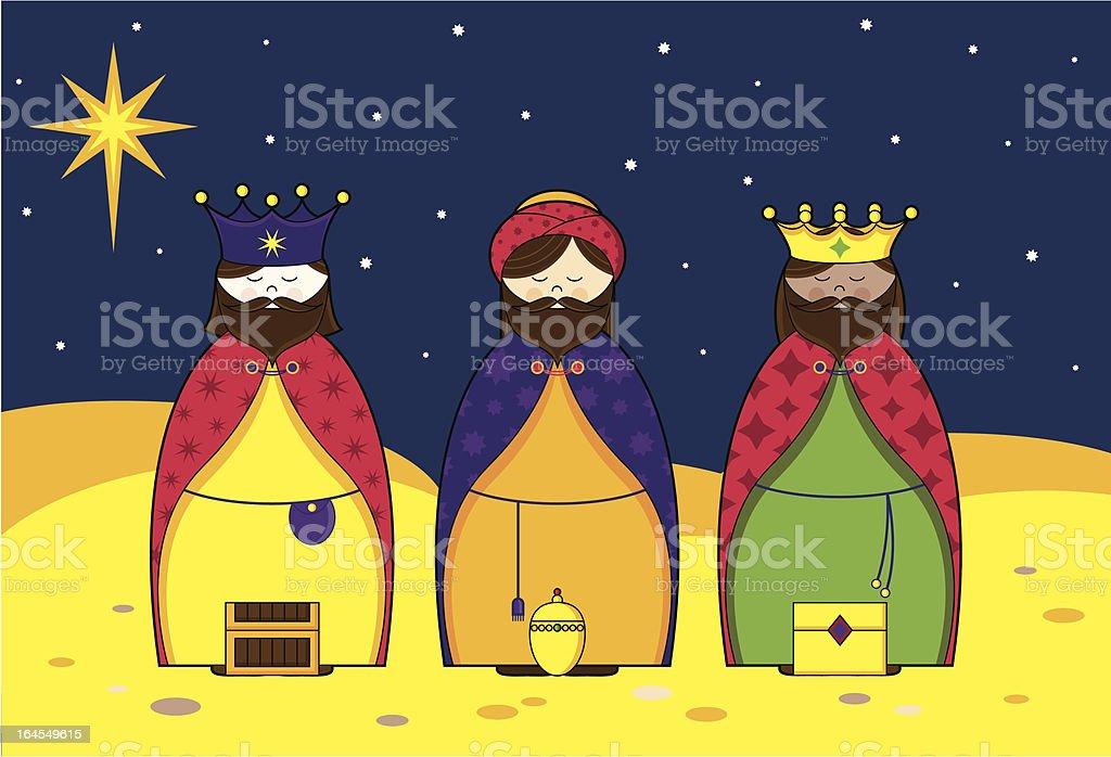 Three Kings in the Night Sky royalty-free stock vector art