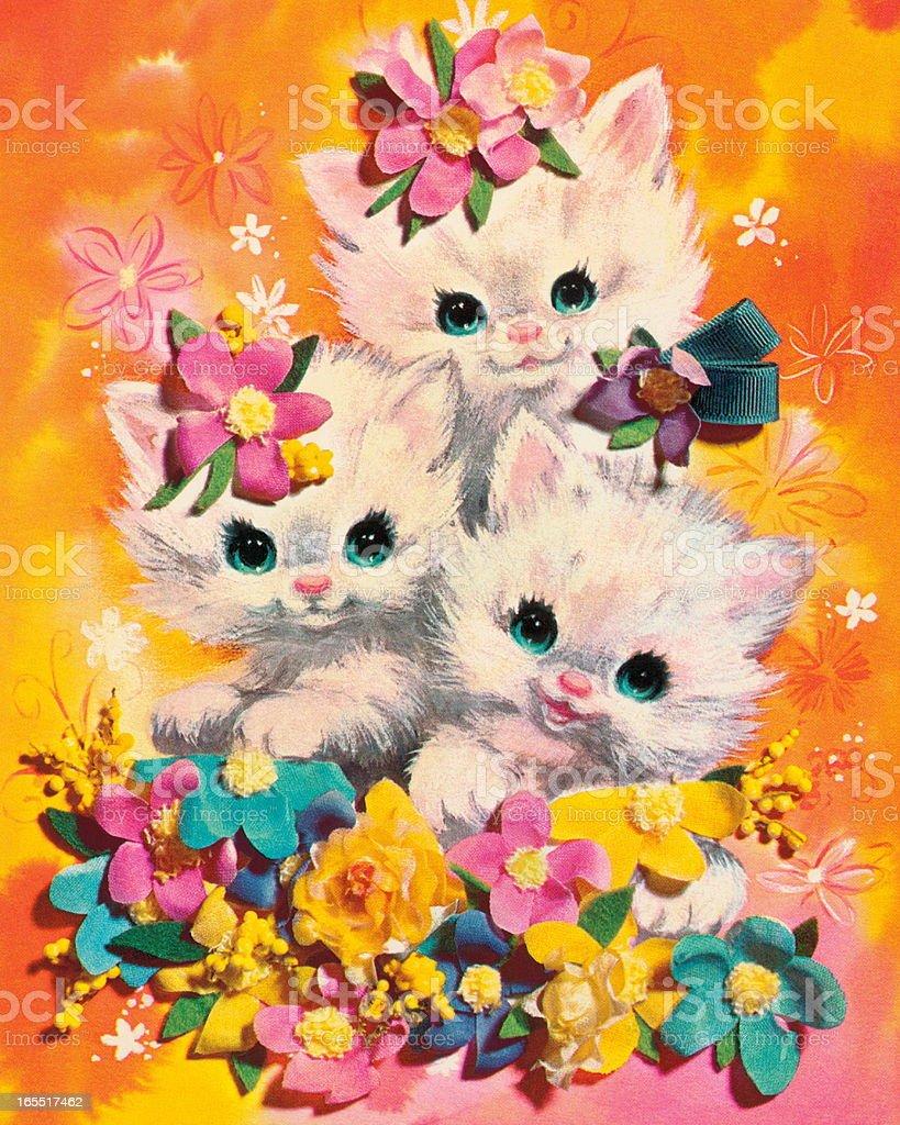 Three Kittens vector art illustration