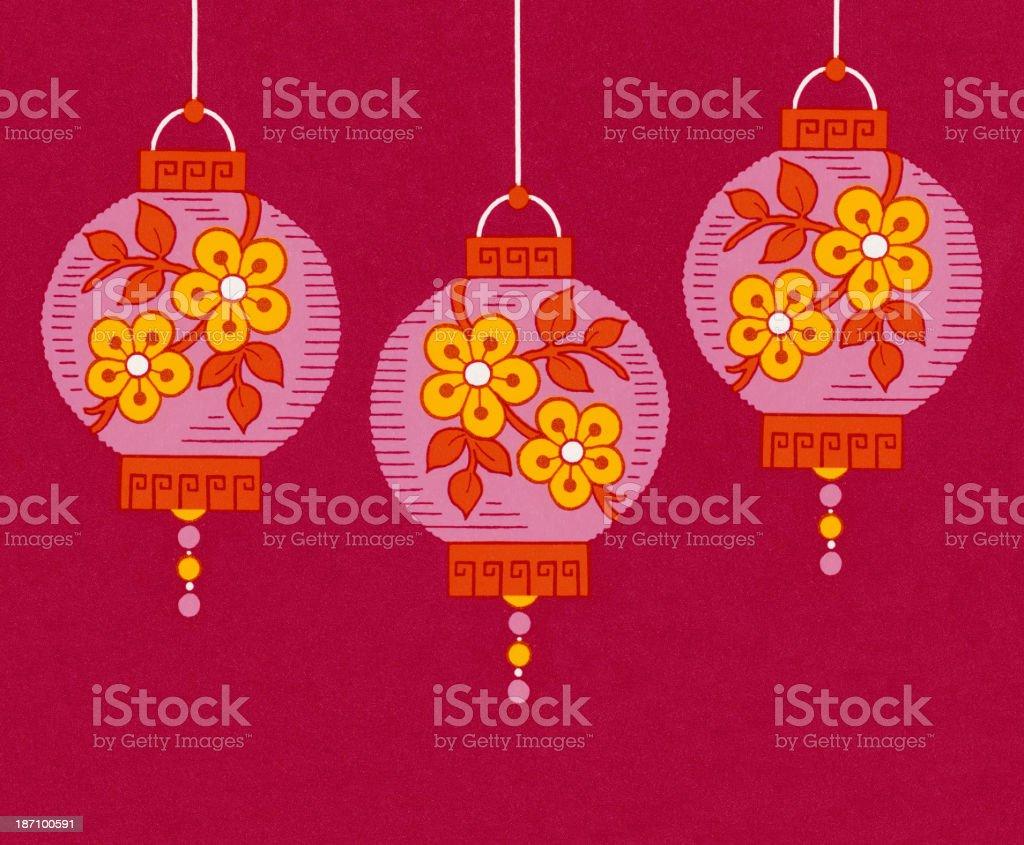 Three Lanterns royalty-free stock vector art