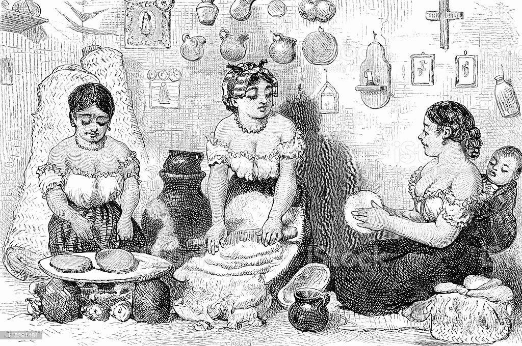 Three Latina Women Make Tortillas in Mexico circa 1800s royalty-free stock vector art