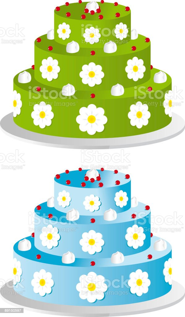 Three layer cakes in two different colors vector art illustration