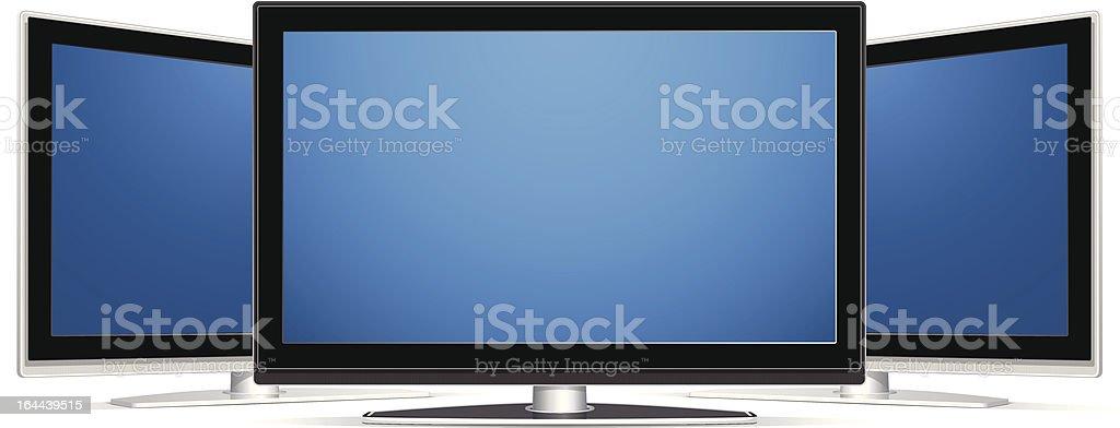 Three LCD TV vector art illustration