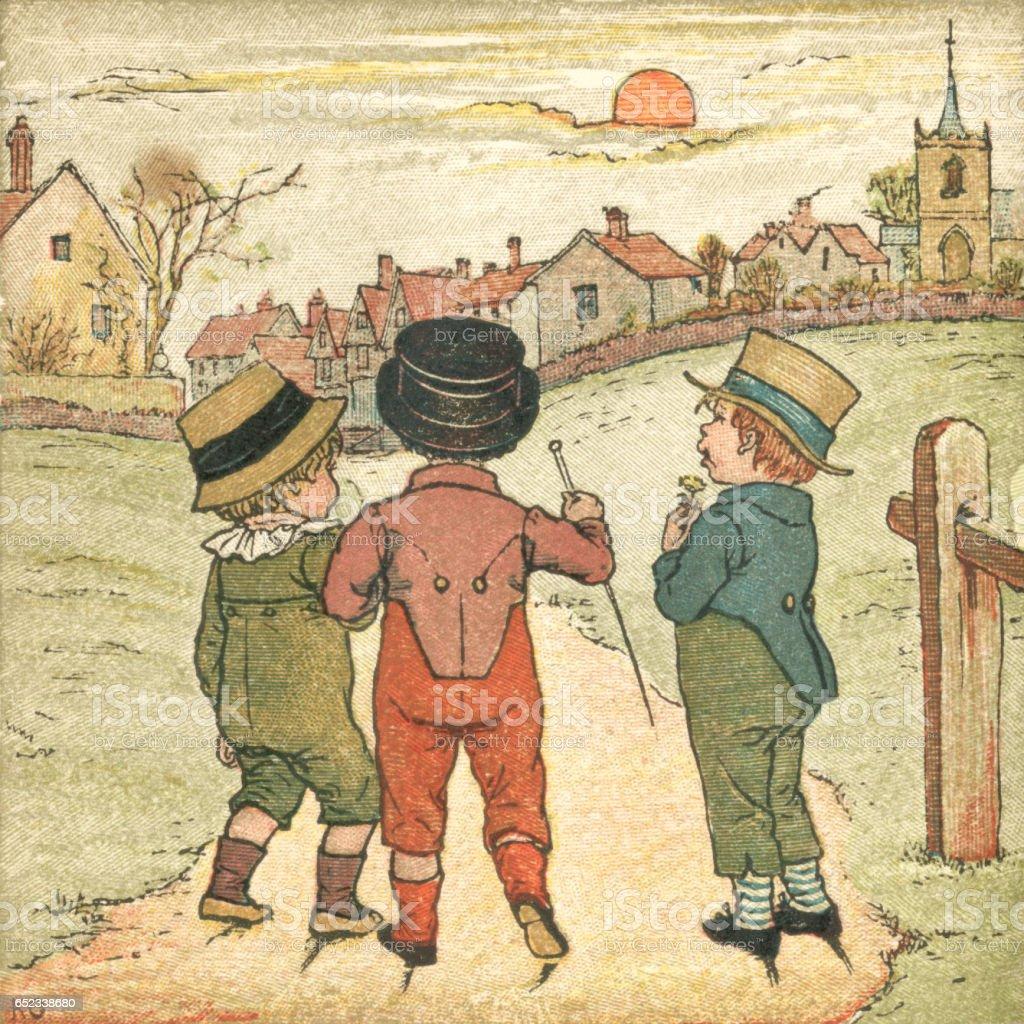 Three little boys walking on a footpath in autumn sunset vector art illustration