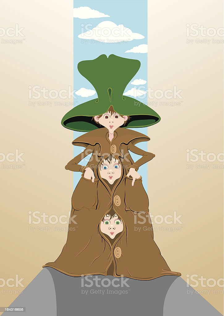 Three little jokers vector art illustration