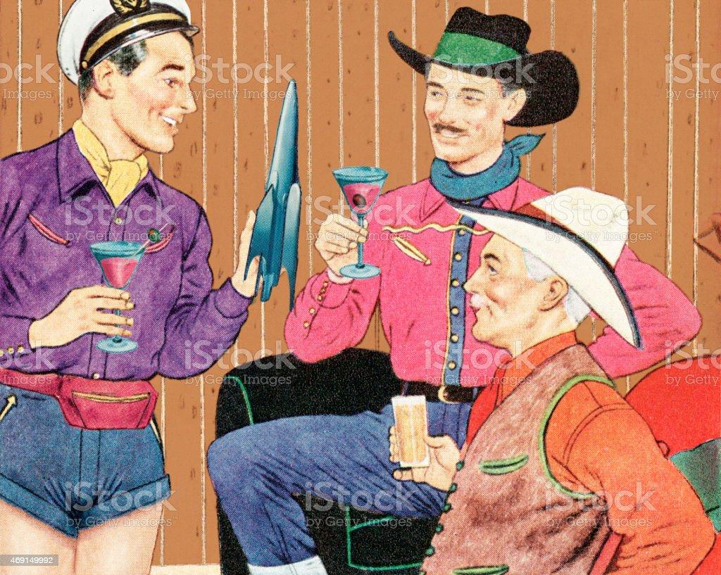Three Men Drinking Cocktails vector art illustration