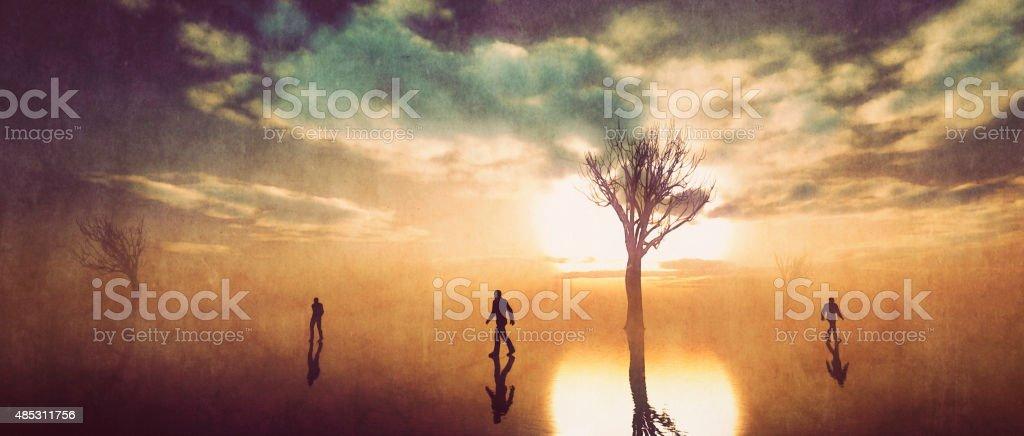 Three men walking away, separation vector art illustration
