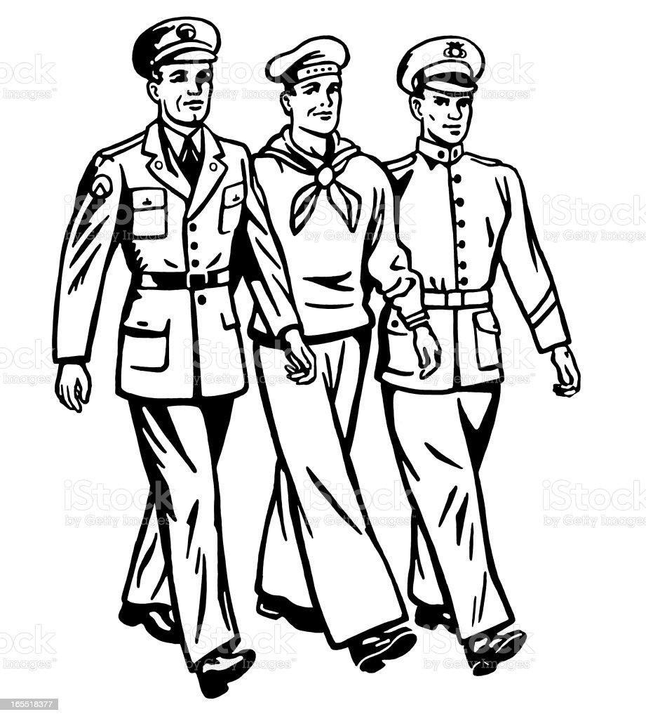 Three Military Men Walking royalty-free stock vector art