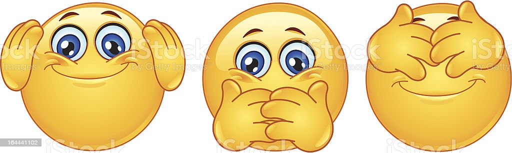 Three monkeys emoticons royalty-free stock vector art