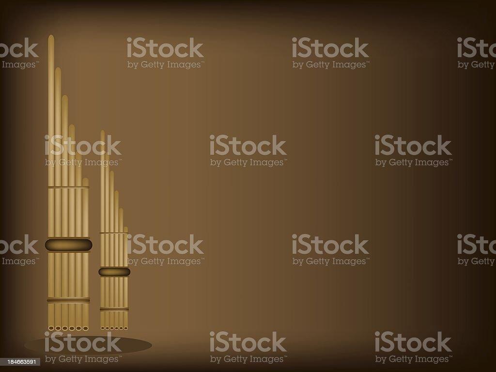 Three Musical Pan Flute on Dark Brown Background royalty-free stock vector art