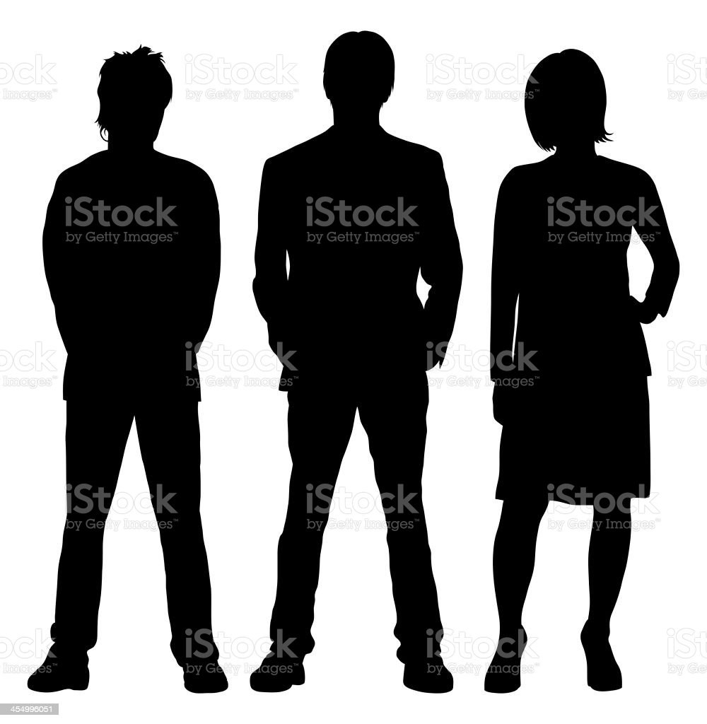 Three People vector art illustration