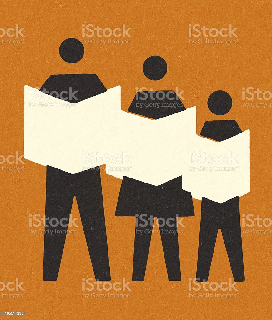 Three People Reading Newspapers royalty-free stock vector art