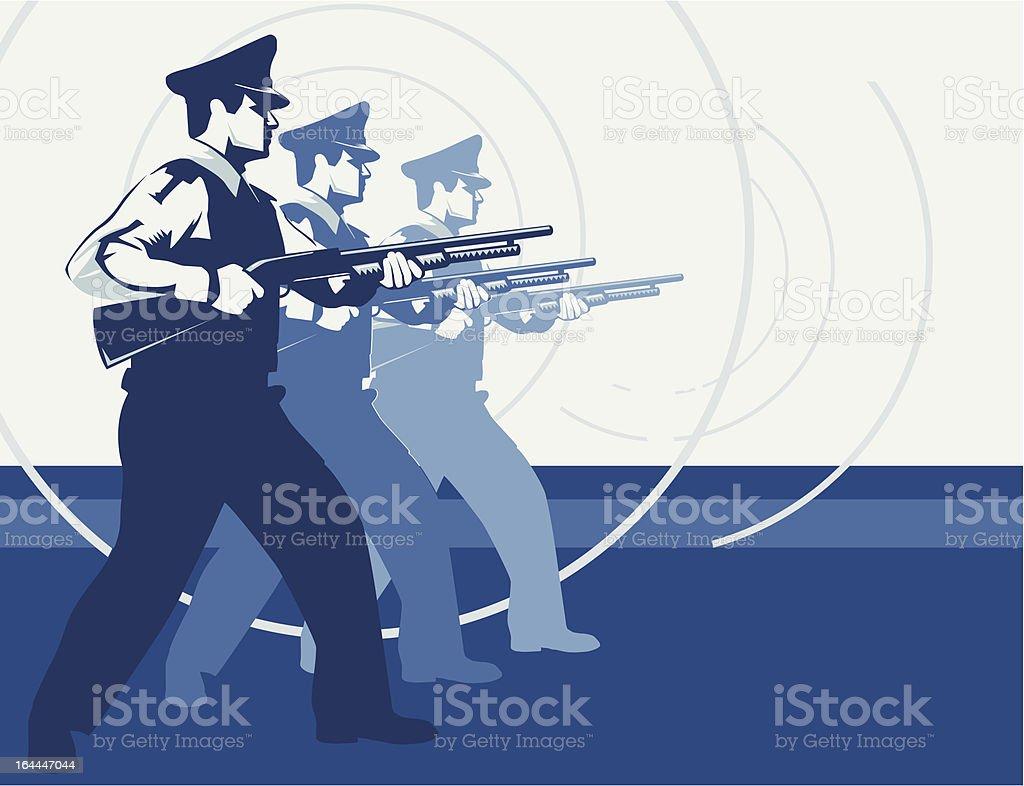 Three policemen with shotguns vector art illustration