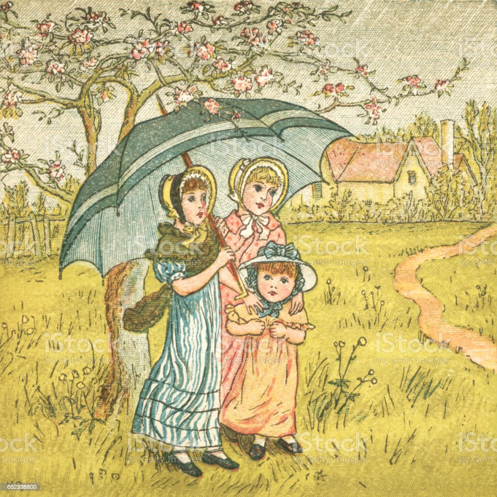 Three Regency style girls sheltering from April showers vector art illustration