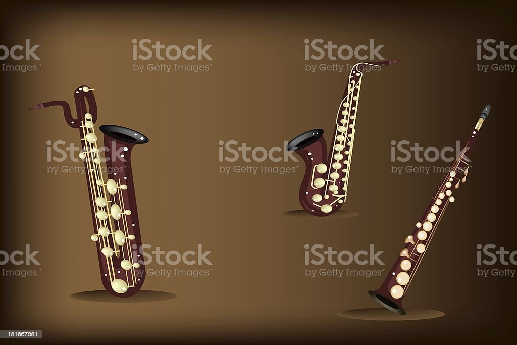 Three Retro Saxophone on Dark Brown Background royalty-free stock vector art