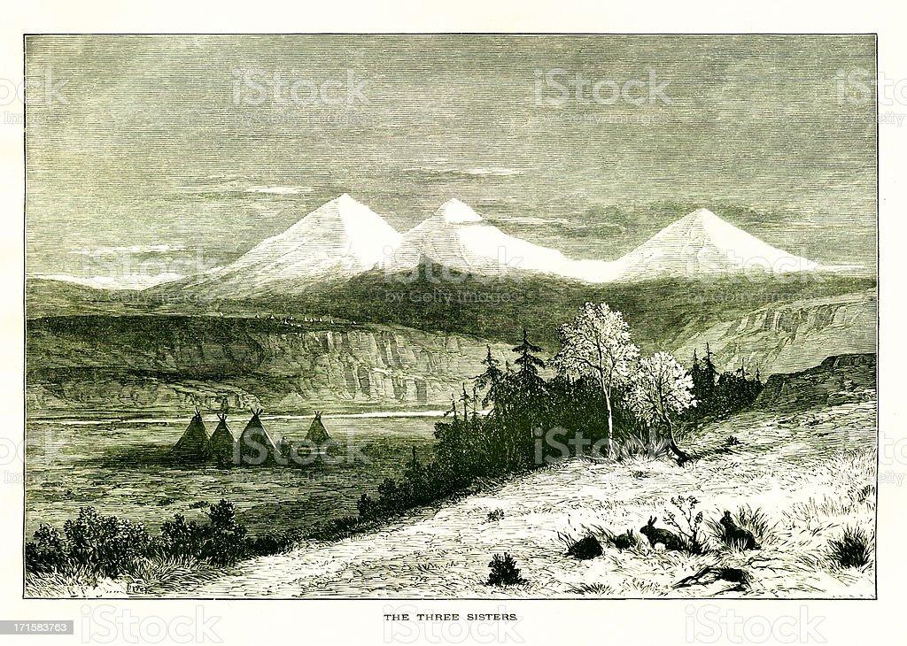 Three Sisters, Oregon   Historic American Illustrations royalty-free stock vector art