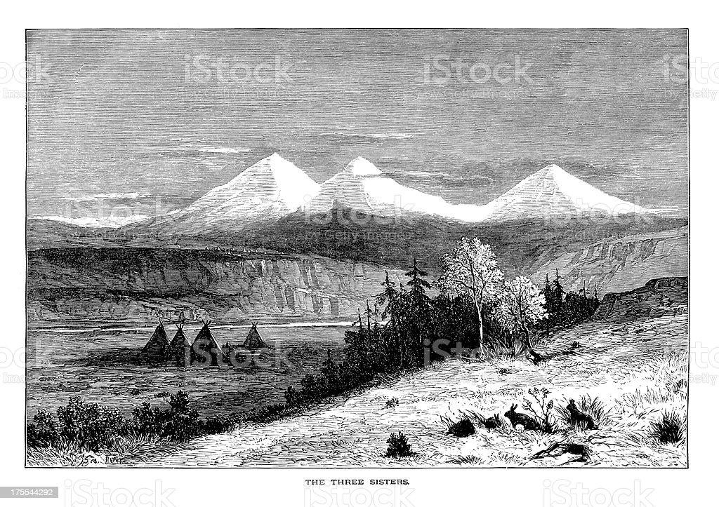 Three Sisters, Oregon | Historic American Illustrations royalty-free stock vector art
