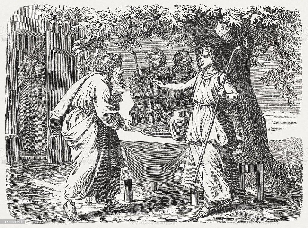 Three Special Visitors (Genesis 18) vector art illustration
