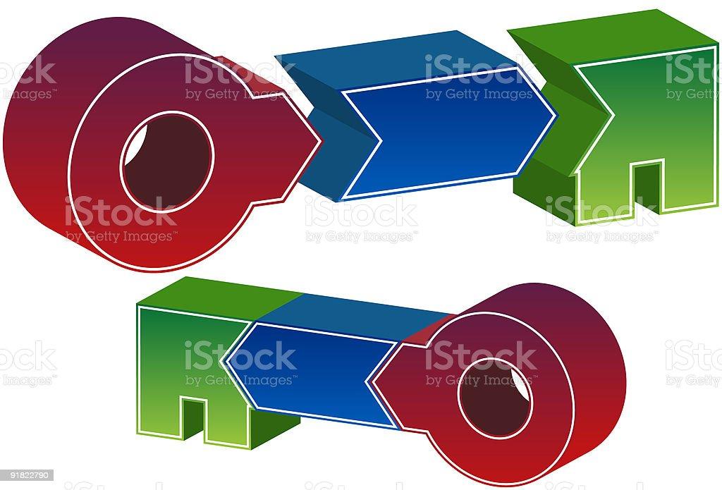 Three Step Process Key royalty-free stock vector art